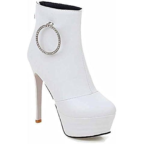 VogueZone009 Donna Cerniera Punta Chiusa Tacco Alto Bassa Altezza Stivali con Metallo