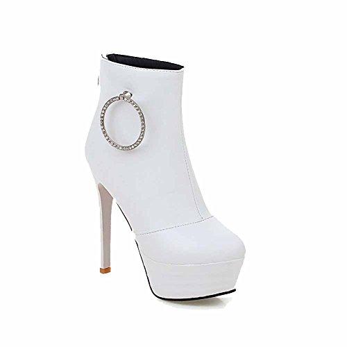 VogueZone009 Damen Niedrig-Spitze Rein Rund Zehe Hoher Absatz Stiefel mit Beschlagene Strass Weiß