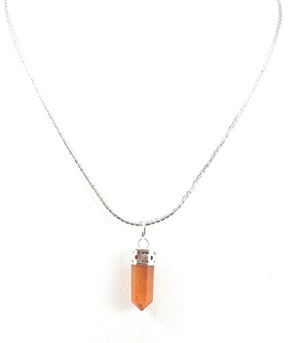 Gems Gallery Natural Carnelian Gemstone Pencil Pendant with Chain