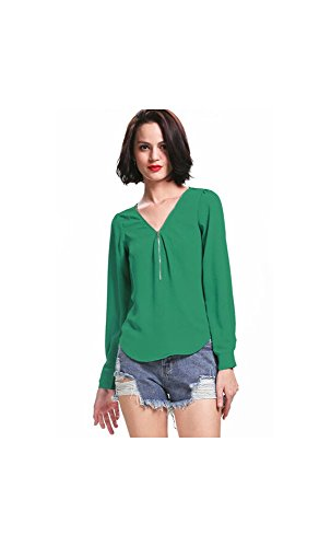 Mela Proibita - Sexy maglietta donna VERDE maniche lunghe scollo V con zip anteriore casual moda Verde