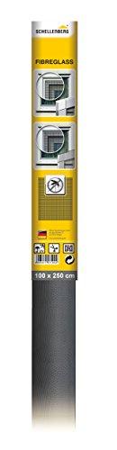 Schellenberg 57109 Fliegengitter Fiberglasgewebe | 100 x 250 cm | anthrazit | hochwertig & kein Ausfransen beim Zuschneiden | vielseitig einsetzbar | UV-beständig & reißfest