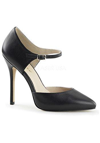Pleaser Amuse-35 sexy High Heels Riemchen Pumps Lack Schwarz 35-46 Blk Leather