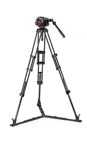 Manfrotto MVK504TWINGC 504HD professioneller Fluid Videokopf und Doppelrohr Carbon Stativ (mit Bodenspinne für DSLR, Video- und Filmkameras)