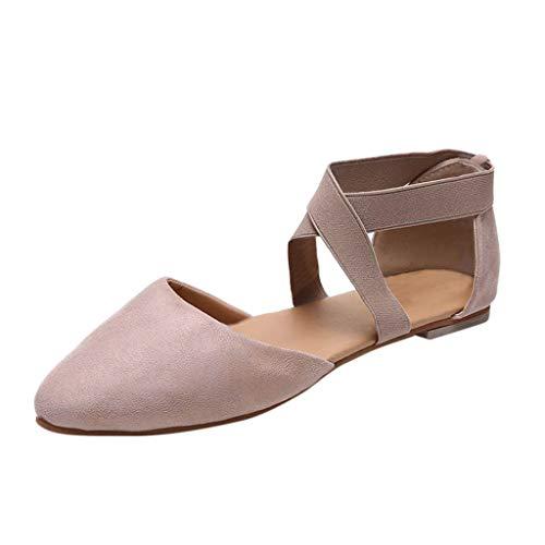 MakefortuneDamen Ballerina Ankle Elastic Crossing Strap Runde Kappe Bequeme Pump Schuhe Damen Ballerinas Dolly Wohnungen Büroarbeit Schuhe Größe 5-9 UK Annie Ankle Strap
