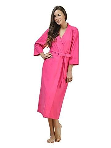SIORO Cotton Robes Soft Kimono Robe Long Knit Bathrobe Nightwear Lightweight Loungewear Nightdress V-neck Sexy Sleepwear for women Fuchsia M