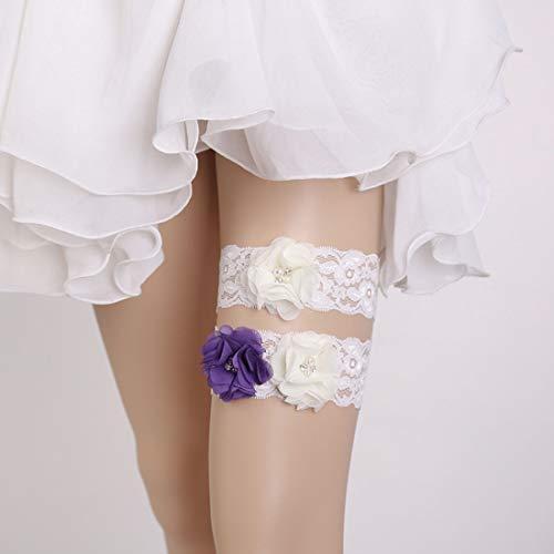 Mallty le giarrettiere nuziali accessori da sposa sposa coscia decorativo perline fiore di pizzo (color : white)