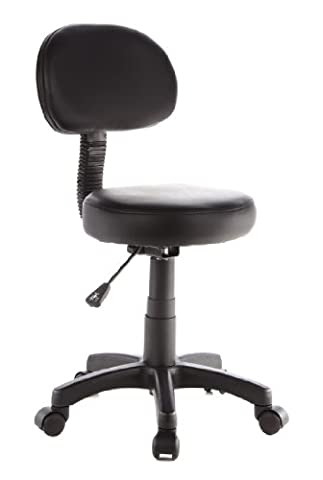 hjh OFFICE DISC PLUS Black Faux Leather Work/Task Stool