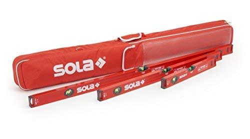 Wasserwaage 30cm /60cm /100cm | Sola Wasserwaage 3er Set | Inklusive Schutztasche mit Außentaschen & Tragegriff | Wasserwaagen mit WFix Meterstab