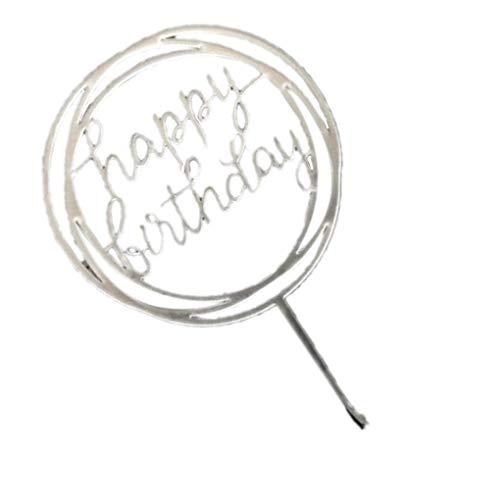 Kakiyi Runde Alles Gute zum Geburtstag Brief-Kuchen-Deckel Acryl DIY Kuchen-Kuchen-Smash-Kerze-Partei-Handmade-Stick