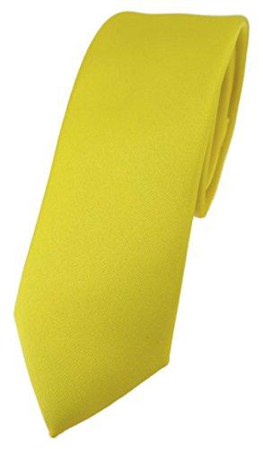 TigerTie schmale Designer Krawatte in gelb einfarbig Uni - Tie Schlips Designer-outfit