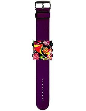 S.T.A.M.P.S. Stamps Uhr KOMPLETT - Zifferblatt Cocktail mit Lederarmband violett