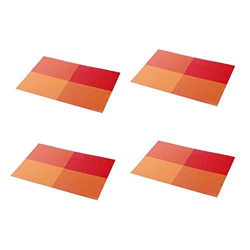 Kjz-placemats Esstisch Matte, PVC tischset leicht zu reinigen tischset westlichen Restaurant tischsets Edelstahl Platte Bahn 45 * 30 cm (Farbe : Red Square) Red Square Platte