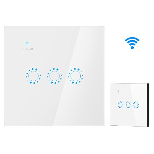 Smart WiFi Switch 3 Gang Wandhalterung WiFi RF Control Kompatibel mit Alexa Google Assistant Wireless Smart Wandschalter (Weiß) 3 Gang Wandhalterung