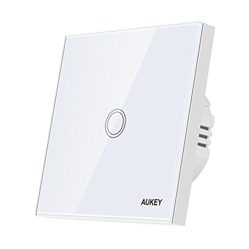 AUKEY Schalter touchscreen 230V Touch Lichtschalter mit kratzfester Kristallglas Panel und  LED-Anzeige, Touch Panel Schalter für 110-240V Elektrische Spannung und 5-300W Licht - Weiß - Installieren Dimmer Lichtschalter