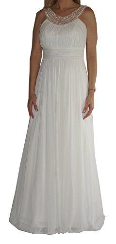 Brautkleid (AF6059DD), weich fließendes Chiffon-Brautkleid, ärmellos, Perlen-Ausschnitt, Raffungen...