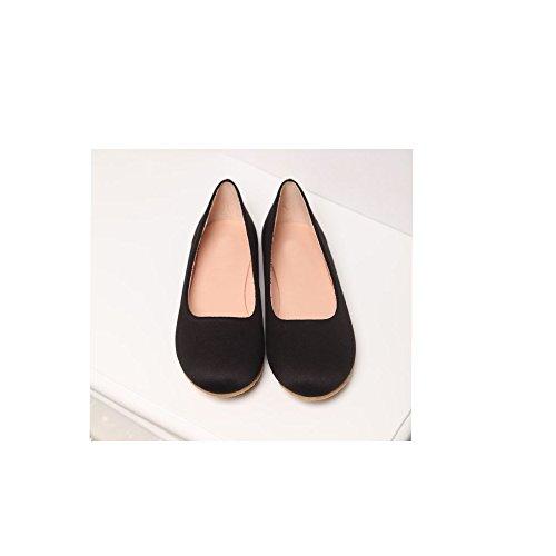 OCHENTA Femme Ballerine Plat Suedine Simple Mode Casual Noir