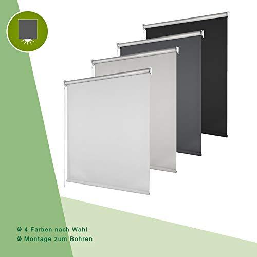 OUBO Verdunkelungsrollo Wand- Decken Montage zum Bohren Thermorollo Fensterrollos, Polyester, Weiß, 100 x 175 cm