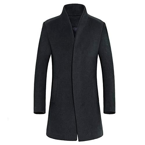 Susenstone Trench Coat Homme Long Slim Manteau en Laine Chaud Hiver Polaire Parka Outwear Loisirs Couleur Unie Buton Outwear Blouse (L, Gris)