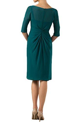 Sunvary Elegant Rund Chiffon Knielang Halbarm Abendkleider Kurz 2016 Mutterkleider Royalblau