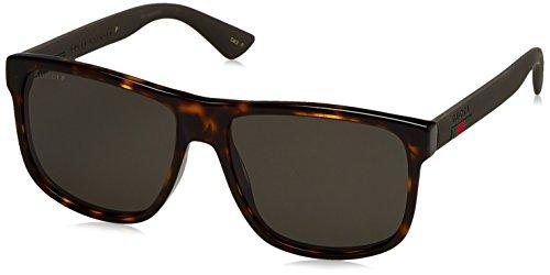 Gucci Herren GG0010S 003 Sonnenbrille, Braun (Avana/Grey), 58