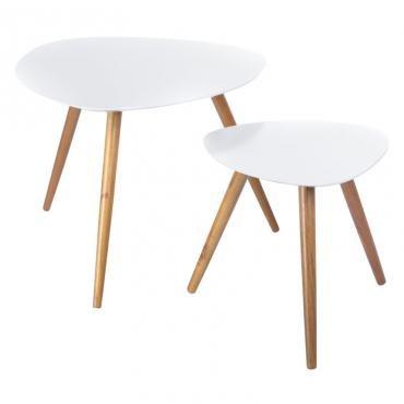 Set di 2 tavolini sovrapponibili, perfetti in ogni stanza della vostra casa - Colore GRIGIO CHIARO