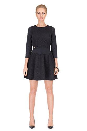 ... Boot Ausschnitt; Reißverschluss Hinten. Futuro Fashion - Damen  Sensibles Plissiertes Mini Kleid Blumen Muster 3/4 Ärmel U- ...