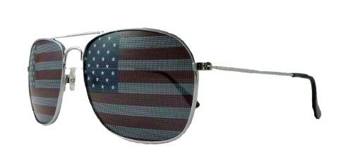 Unknown Amerikanische Flagge Flieger-Sonnenbrille Usa Gläser Erwachsene Silber