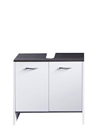 trendteam smart living Badezimmer Waschbecken Unterschrank Schrank California, 60 x 55 x 28 cm in Weiß, Absetzung Rauchsilber mit viel Stauraum