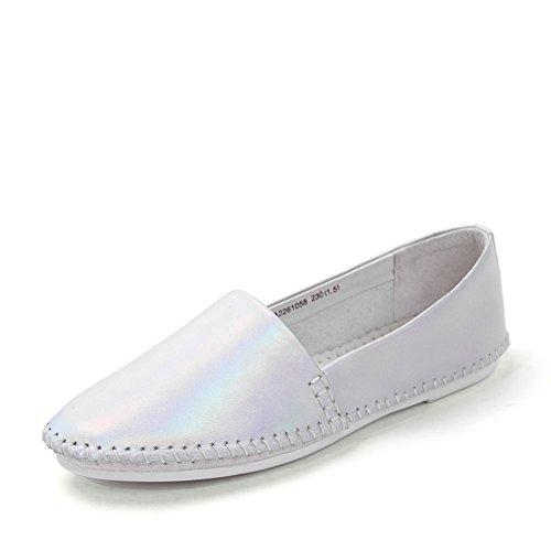 Rotondo primavera punta/Piede piatto scarpe/Scarpe da donna Argento