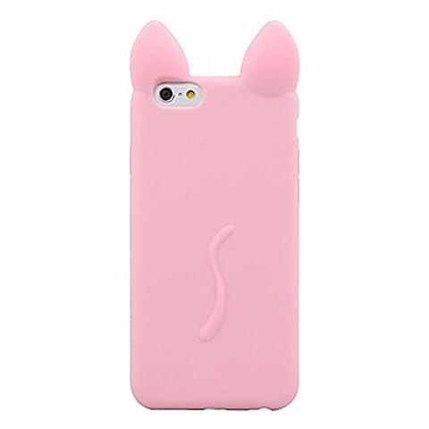 Inonler Oreille de chat intéressant souple coque ()(iPhone 5/5S/SE,Rose)