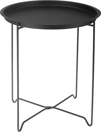 Metall Beistelltisch schwarz mit Tablett - Faltbar - Sofatisch Couchtisch Tisch