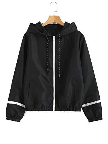 ZAFUL Damen Jacke mit Kapuzen Reißverschluss Taschen Langarm Einfarbig Gestreifte Windjacke Schwarz Small -