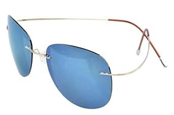 Eyekepper Randlos Titan Rahmen polarisierten Sonnenbrillen Gold/Blau Spiegel r6Jei6