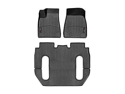 WeatherTech Passgenaue Fußmatten gummimatten passend für: Tesla Model X (6-Sitzer)-Folg 18/10 / 2016 2016-19|Schwarz|1. und 2. Reihe FloorLiner