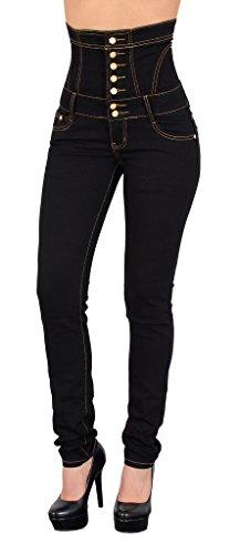 by-tex Damen Jeans Damen Röhrenjeans Damen Hochbund Jeanshose in aktuellen Farben J11 (Jeans Taille Hohe)