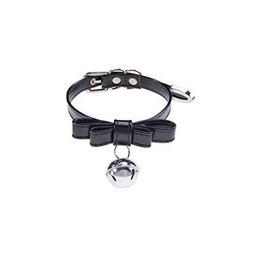 Packitcute Leder Halsband mit Glocke verstellbar handgemachte Choker Halskette für Frauen (Black)