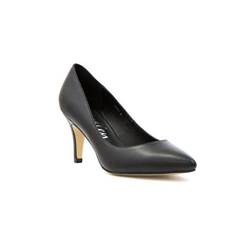 Lilley Womens Black High Heel Court Shoe in Matte - Size 7 - Black