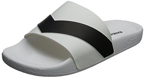 Diesel Hommes Noir & Blanc Aloha Sa-Maral Slide Flip Flops, Blanc, *