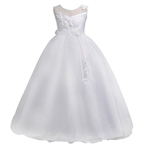 Zhuhaitf Girls Flower Formal Wedding Bridesmaid Party Christening Dress Kids Tulle Dress Princess (Dresses Wedding Plus Size)