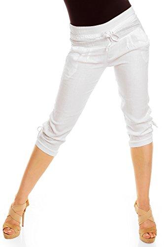 Damen Leinen Capri Hose XL - 42 weiß (Binden Weites Bein)