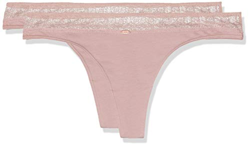 Skiny Damen Cotton Graphic 2er Pack String, Rosa (Smoke Rose 0217), 38 ( -