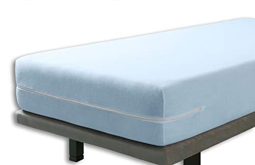Velfont - Elastischer Matratzenbezug mit Reißverschluss, Frottee Baumwolle Matratzenauflage | Matratzenschonbezug - 90 x 190/200 cm - Hellblaue- Matratzenhöhe 15-25cm - verfügbar in verschiedenen Größen