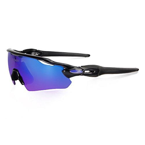 Queshark piena revoed lente polarizzata 3 scambiabili lente per uomini donne in sport lenti degli ciclismo occhiali da sole (nero)