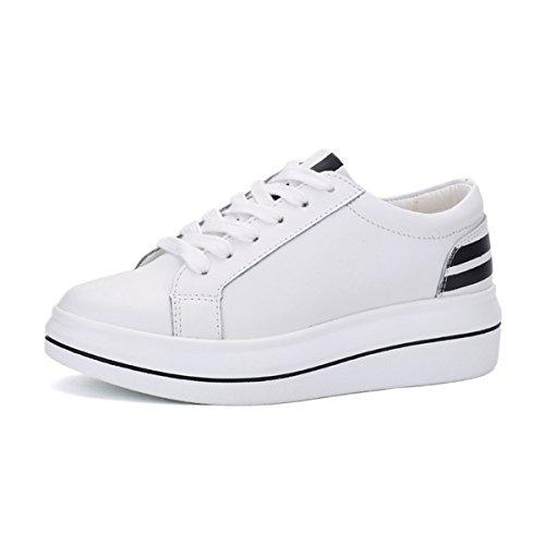 Damen Schnürhalbschuhe mit Gummi Sohlen Klassische Leichtgewicht Atmungsaktive Bequeme Flache Damen Sneaker Weiß