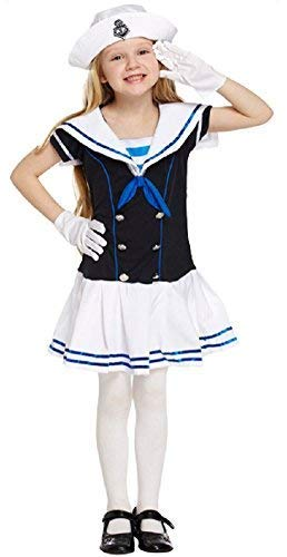 Kostüm Matrosen Kinder - Fancy Me Mädchen Kinder Marineblau Matrose See Kadett Uniform Büchertag Kostüm Kleid Outfit 4-12 Jahre - Blau, 10-12 Years