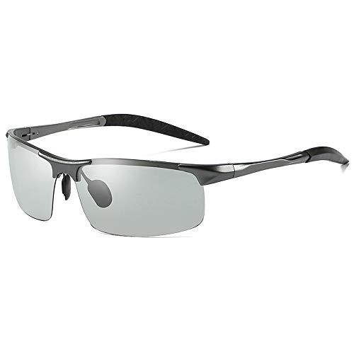 Easy Go Shopping Herren Driving Lightweight UV400 UV Cut verfärbte SonnenbrillePolarisierte Sonnenbrille Sonnenbrillen und Flacher Spiegel (Color : Grau, Size : Kostenlos)