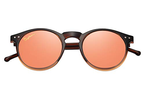 Capraia Timorasso Festival Round Vintage Sunglasses Ultra Light High Quality TR90 Transparent Brown to Orange Frame and Peach Mirrored Polarised Lenses UV400 protected Mens Womens