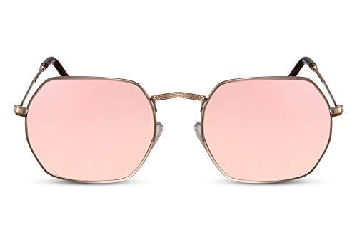 Cheapass Sonnenbrille Oktogonal Gold Pink Verspiegelt UV-400 Rund Eckig Metall-Rahmen Damen Herren
