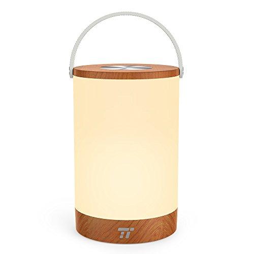 Tischlampe LED TaoTronics Vintage Nachttischlampe mit RGB Farbwechsel 256 Farbe, Touch-Bedienung, 4000mAh Akku, Merkfunktion (Mehrfarbig, Stufenlos Dimmbar, Tragbar, 110 Stunden Betrieb, Holzoptik) (Tippen Auf Licht Sie)