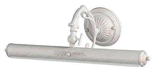 Antike Wandleuchte für Bilder,  weiße Lackirung des Metalls mit Patina, 2-flammig exkl. E14 25W 220V-240V